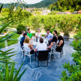 Group having a wine tasting in the Wachau Valley